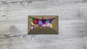 Flowers in the Forgive Me Letter craft envelope. Top view. Flowers in the Forgive Me Letter craft envelope. Studio top view shot Stock Photography