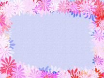 Flowers frame. A pastel background with colourful flowers as frame stock illustration