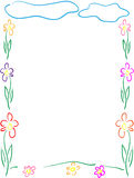 Flowers frame or border. Beautiful frame or border made from flowers and nice clouds, children hand drawn Stock Images