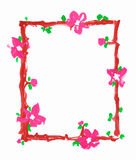 Flowers frame border paper paint sketch Royalty Free Stock Photos