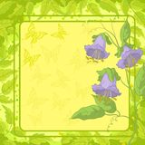 Flowers, frame, butterfly and leaves Royalty Free Stock Photography