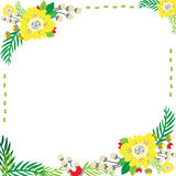 Flowers frame can write text in the middle and make greeting card with white background. Stock Photo