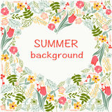 Flowers frame with colorful floral heart summer time theme. Stock Image