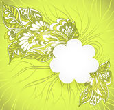 Flowers  frame with doodle flowers in green Stock Image