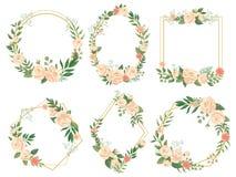 Flowers frame. Flower border frames, round bloom and decorative wedding floral square card vector illustration set