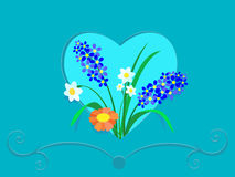 Flowers in a frame of heart Royalty Free Stock Images
