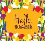 Flowers frame hello summer sign card. Stock Images