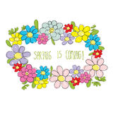 Flowers frame spring multicolor with word spring is coming! vect Royalty Free Stock Photo