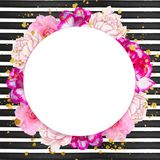Flowers frame on striped background - backdrop frame Stock Photo