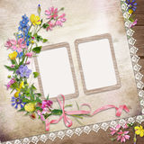Flowers and frame on vintage background Royalty Free Stock Photography