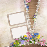 Flowers and frame on vintage background Royalty Free Stock Photo