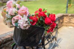 Flowers in front basket bicycle. Fake flowers in the front basket of old black bicycle parked in the garden royalty free stock photos