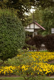 Flowers in front of the house, front yard. Landscape design. Royalty Free Stock Photo