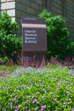 Flowers in front of IRS Building Stock Photo