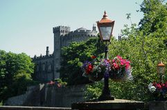 Flowers in front of old castle. The picture shows some colourful flowers in front of the old Kilkenny castle (Ireland) at a sunny day with blue sky Stock Image
