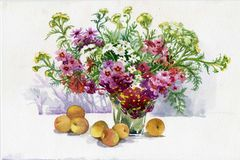Flowers and fruit. Flowers and beautiful fruit, watercolor Stock Photo