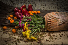 Flowers and fruit of still life Royalty Free Stock Photography