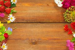 Flowers and Fruits on vintage wood table Stock Photography