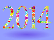 2014 in flowers. Fun 2014  new year design with flowers over blue Stock Illustration
