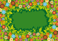 Flowers garden frame vector illustration / backgro Stock Photos