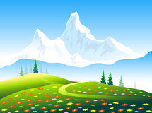 Flowers garden & Himalayas Snow Peaks. Is a  illustration Royalty Free Stock Photography