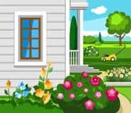 The flowers in the garden near the house, colour illustration. Stock Photos