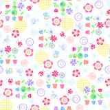 Flowers Garden Seamless Repeat Pattern. Flowers Garden, Ladybugs, and Bees Seamless Repeat Pattern Vector Illustration Background Royalty Free Stock Photo