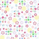 Flowers Garden Seamless Repeat Pattern. Flowers Garden, Ladybugs, and Bees Seamless Repeat Pattern Vector Illustration Background vector illustration