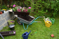 Flowers garden tools Stock Images