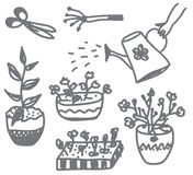 Flowers gardening doodle with pots, cans Royalty Free Stock Images