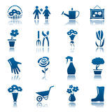 Flowers and gardening icon set Royalty Free Stock Photos