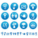 Flowers and gardening icons stock illustration