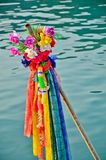 Flowers and garlands to show respect to Phra Mae Kongka royalty free stock images