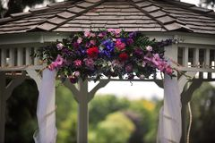 Flowers on a gazebo Royalty Free Stock Photography