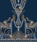 Flowers geometric design romantic barroque gold fashion. Print elegant lines fabric ethnic royalty free illustration