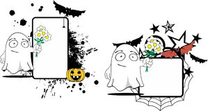 Flowers Ghost cartoon expression halloween copyspace set Stock Photos