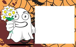 Flowers Ghost halloween cartoon expressions frame background Royalty Free Stock Photos
