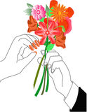 Flowers gift. Illustrated hands given flowers as a present of love Stock Photography