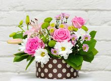 Flowers in a gift box. Stock Photo