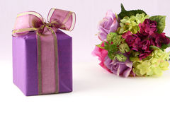 Flowers and gift box Royalty Free Stock Photo
