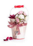 Flowers gift box bow ribbon Royalty Free Stock Image