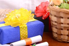 Flowers and gift box, holiday concept Royalty Free Stock Images
