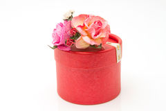 Flowers and gift box isolated Royalty Free Stock Images