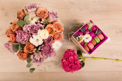 Flowers in a gift box Royalty Free Stock Photography