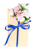 Flowers gift box yellow blue Stock Images