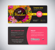 Flowers  gift coupon template concept. front and back card. Stock Photos