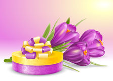 Flowers and gift Royalty Free Stock Photos