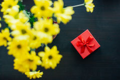 Flowers and gift stock images