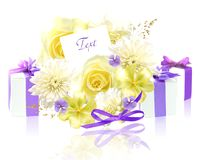 Flowers and gifts Royalty Free Stock Photography