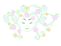Flowers and girl. Dreamy girl with hair in the form of flowers stock illustration